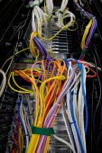 Messy servers stack with cabling