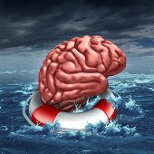 picture of cognitive  - Saving your brain anf preserving memory and neurologial function as a lifesaver in the ocean saving the the human thinking organ as a health care and medical concept for cognitive therapy to help cure dementia autism or aging diseases - JPG