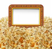 stock photo of marquee  - Cinema popcorn with a blank movie marquee sign as an entertainment communication symbol for TV shows or theater performances isolated on a white background - JPG