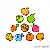 stock photo of food pyramid  - Healthy food pyramid of fruits and vegetables - JPG