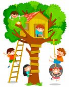 picture of tree house  - happy children playing in a tree house - JPG