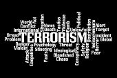 picture of dangerous situation  - Terrorism Word Cloud on Black Background - JPG