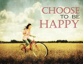 picture of text cloud  -  a pretty girl riding through a field full of yellow flowers with the text - JPG