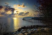 stock photo of sea-scape  - beautiful sea scape at dawn nature in Thailand - JPG