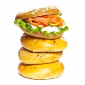 pic of bagel  - Stacked Bagels with Salmon Bagel Sandwich - JPG