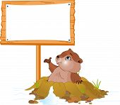 stock photo of groundhog  - Vector illustration of a cute groundhog popping out of a hole near billboard - JPG