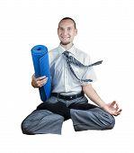 stock photo of padmasana  - Businessman holding yoga mat and doing Levitation in lotus pose isolated on white background - JPG
