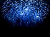 stock photo of firework display  - Blue colorful fireworks on the black sky background - JPG