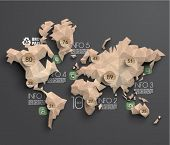 stock photo of recycled paper  - Vector Brown Paper Polygonal World Map Graphics - JPG