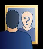 foto of cognitive  - A man is looking into the mirror asking himself  - JPG