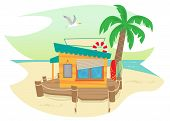 foto of shacks  - Cute beach shack and a palm tree - JPG