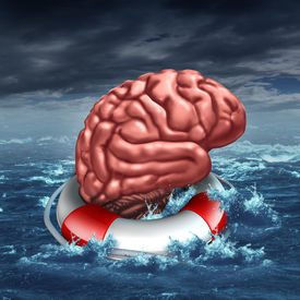 stock photo of cognitive  - Saving your brain anf preserving memory and neurologial function as a lifesaver in the ocean saving the the human thinking organ as a health care and medical concept for cognitive therapy to help cure dementia autism or aging diseases - JPG