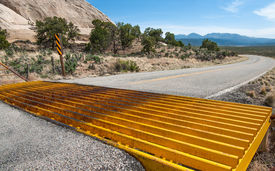 picture of open grazing area  - A metal grill set into the pavement on a country road allows cars to cross but prevents cattle from leaving an open range area - JPG