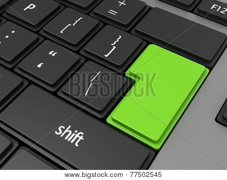 Green Enter Button On Computer Keyboard Background, 3D Render