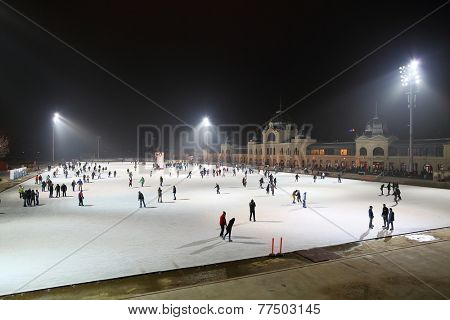 BUDAPEST, HUNGARY - DECEMBER 17: City Park ice rink on December 17, 2013 in Budapest, Hungary. It is Europe's largest outdoor ce rink.
