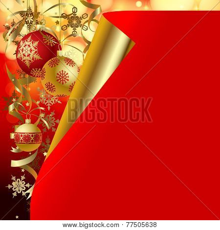 Christmas and New-Year's background and greeting card.  Vector illustration