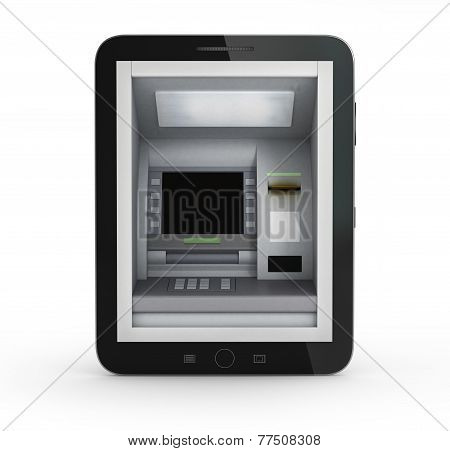 Online Payments Concept. Tablet Pc With Atm And Credit Card On A White Background