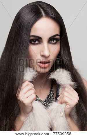 Face Of Sexy Model In Fur Vest