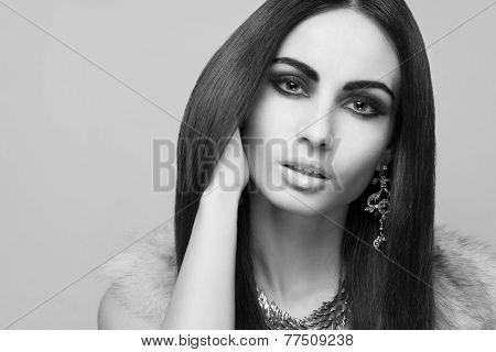 Face Of Fashionable Caucasian Model In Beige Fur Vest