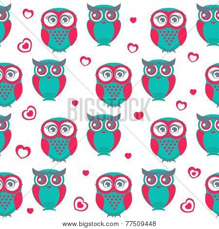 Cute owls seamless pattern. Vector Illustration. Can be used for web, paper, wrap, wallpaper, textile and other design. Valentine`s background.