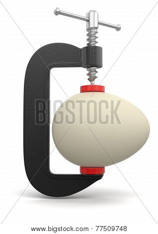 Egg in clamp (clipping path included)