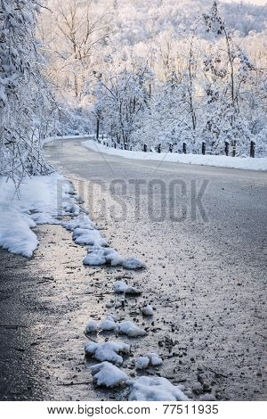 Winter road through icy forest covered in snow after ice storm and snowfall. Ontario, Canada.