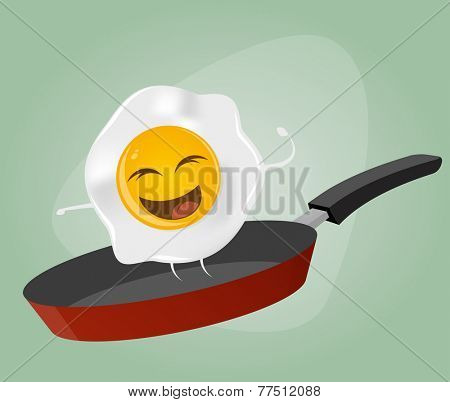 fried egg is dancing in a pan