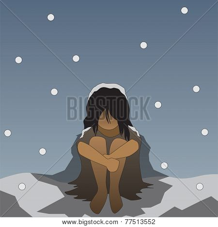 vector winter lonely homeless people