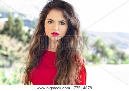 Beauty Portrait Of Young Attractive Woman With Red Lips And Long Healthy Wavy Hair, Outdoor Photo.