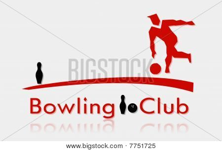 Bowling club with silhouette of man