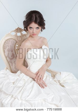 Beautiful Bride Wearing a Wedding Dress With Voluminous Skirt