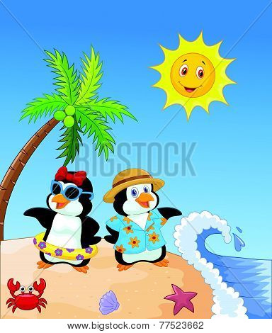 Cute cartoon penguin in summer holiday