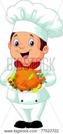 Chef holding roasted chicken