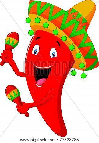 Chili cartoon playing maracas