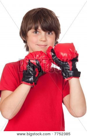 Freckled Boy With Boxing Gloves