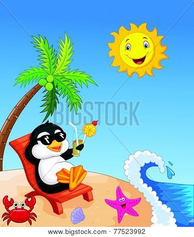 Cute penguin sitting on beach chair