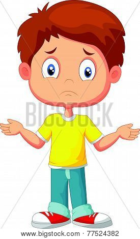 Doubtful young kid gesturing with hands