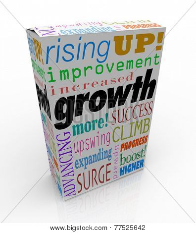 Growth words on product package or box including improved, increase, advancing, more, expanding, surge and upswing