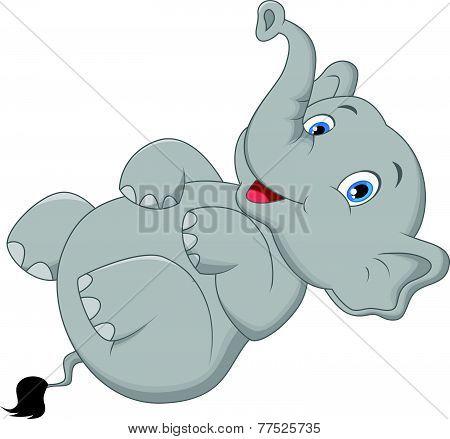 Cute elephant cartoon lying on the floor