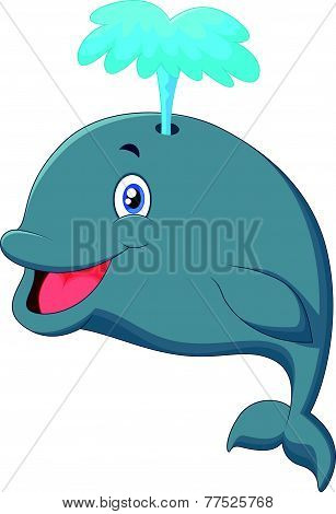Funny cartoon whale