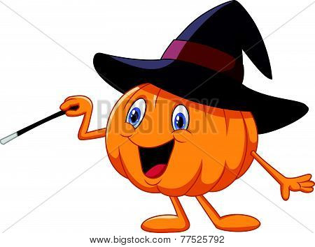 Cartoon pumpkin holding magic wand