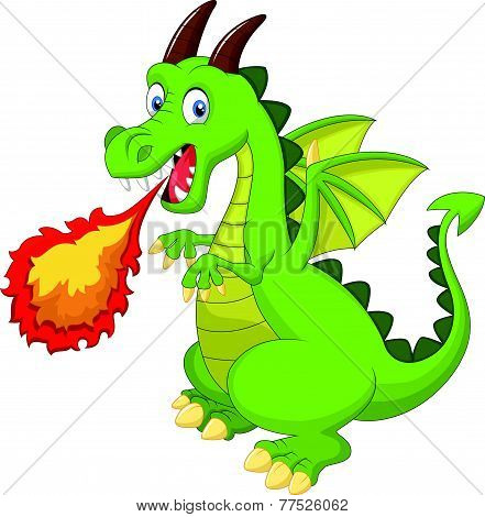 Cartoon dragon with fire