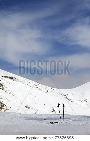 Skiing Equipment On Ski Slope