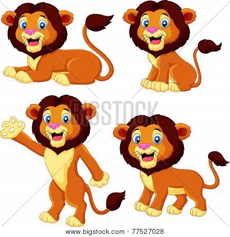 Cartoon lion collection set