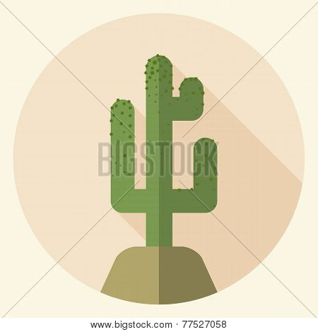 Flat Design Saguaro Icon