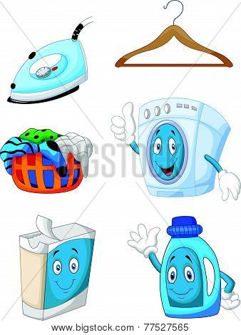 Vector Happy cartoon laundry