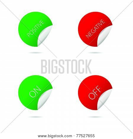 Positive And Negative Circle Sticker Color Vector