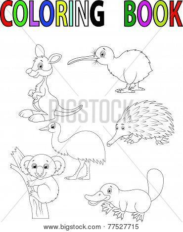 Cartoon Australia animal coloring book