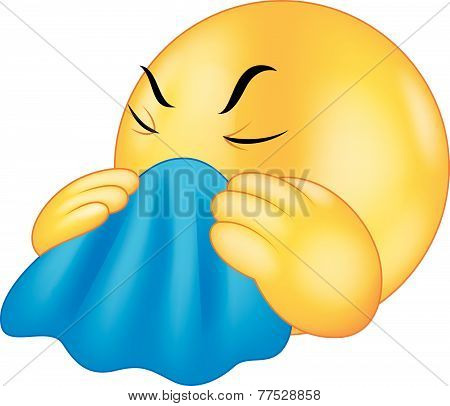 Emoticon smiley coughing