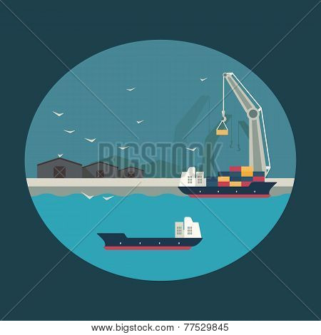 Vector Cargo Ship Loading Containers On Board. Infographic Illustration